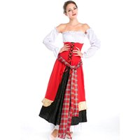 Wholesale Sexy Beer Dresses - Sexy Maid Halloween Cosplay Costume Red Strapless Long Dress Maid Lolita Fancy Dress Beer Girl Maid Costume for Women A158725