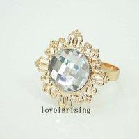 Wholesale Clear Napkin Ring Holder - 22 Colors Pick-100pcs lot Clear Gem Napkin Rings Vintage Style Gold-tone Metal Rings Wedding Decor Napkin holder