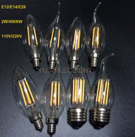 Wholesale E27 E14 Base - E12 E14 E26 Base Dimmable 2 4 6W LED Filament Candelabra Bulbs 110lm w 2700K 110V 220V C35 Bullet Top C35T Bent Tip COB Bulb CE,UL Approval