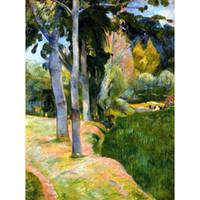 ingrosso grandi dipinti ad olio della camera da letto-Riproduzione di dipinti ad olio Paul Gauguin di alta qualità realizzati a mano con la decorazione The Large Trees for Bedroom