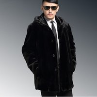 Outono-2016 New Hooded casual Elegante Business Formal Men's Mink Overcoat Elegant Long Luxury Plus Size 4XL Faux Fur Coat Outwear V544