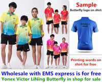 Wholesale Table Tennis Shirts - Wholesale EMS for free, Text printing for free, new badminton child children shirt clothes table tennis T sport shirt clothes 1190
