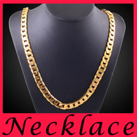 Wholesale American Indian Costume Jewellery - Fashion costume Jewelry 18K Gold statement mens necklaces gold chains choker necklace charms chunky jewellery online 8mm 20 inch chain