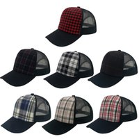 Wholesale Trucker Hats For Cheap - Wholesale 7 Styles The New Snapback Cotton Cap Baseball Cap Adult Unisex Trucker Mesh Hats Cheap Adjustable Plaid Hats For Men And Women