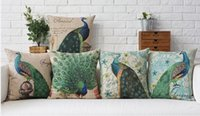 Wholesale Peacock Print Pillow Cases - The Beauty Peacock Blessing Luck Beautiful Home Pillow Decorative Pillows Cover Case Home Decor Massager Arts Painting Gift