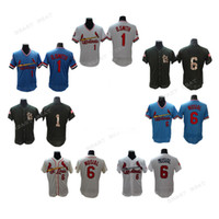Wholesale Cardinals Red - Men Cardinals baseball jerseys #1 Ozzie Smith #6 Stan Musial jerseys Red, black, white, blue Baseball Jersey