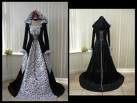 Wholesale Vintage Lace Hats - New Designer White and Black Gothic Wedding Dresses with Hat Embroidery Long Sleeve A Line Bridal Gowns 2017 vestido de novia