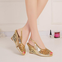 Wholesale Strap Ons For Women - Gold Rhinestones Wedge Wedding Shoes Cut-out Sandals For Brides High Heel Slingback 8cm Chunky Heel Crystals Shoes Women Peep Toe Slip-ons