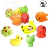 Wholesale Cheap Baby Items - Cheap wholeslea Baby Bath Water Toy Yellow rubber duck 5 kinds of animals such as children swimming beach bath children gifts