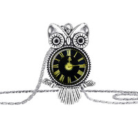 Wholesale Vintage Baby Silver Charms - Fashion Vintage Glass Cabochon Owl Pendant Necklace Women Kid baby Antique Silver Chain Necklaces Classic Jewelry hot sale