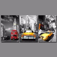 foto de parede vermelha para sala de estar venda por atacado-Street View amarelo vermelho Bus Taxi imagem decoração Big ben pintura de parede pendurado para sala de estar decoração de casa sem moldura