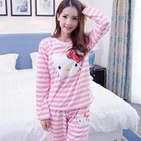 Wholesale pyjama tops - Wholesale- Hello Kitty Printed Cartoon Animal Spring Women Sleep Lounge Pant+Tops 2 Pieces Pijamas Mujer Women Pyjama Set Lovers Sleep Wear
