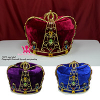 Wholesale Prom King Crowns - Crown Tiara Hat Cap King Queen Cosplay Hairwear Unisex Prince Princess Fashion Jewel Party Prom Night Clup Show Imperial State Colour Mo090