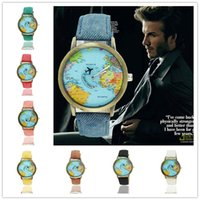 Wholesale Mens Black Watch Band Wholesale - 2016 New Global Travel Quartz Watches Classic Map Denim Fabric Band Mens Watches 8 Colors Fashion Designer Plane Watch