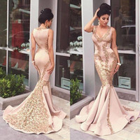 Wholesale Summer For Women Sex - Arabic Mermaid Evening Dresses With Gold Lace Applique 2016 Sex V Neck Back Zip Evening Gown Sweep Train Long Formal Dresses for Women