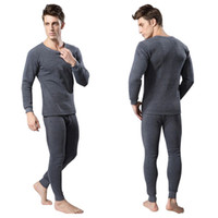 Wholesale Warm Thermal Underwear Set - Wholesale-Men 2Pcs Cotton Thermal Underwear Set Winter Warm Thicken Long Johns Tops Bottom 3 Colors E9