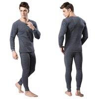 Wholesale Long Underwear Men Shirt - Wholesale-Men 2Pcs Cotton Thermal Underwear Set Winter Warm Thicken Long Johns Tops Bottom 3 Colors E9