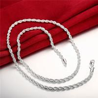 erkek moda kolye satışı toptan satış-Yeni varış Flaş twisted halat kolye Erkekler gümüş plaka kolye STSN067, moda 925 gümüş Zincirler kolye fabrika doğrudan satış