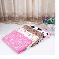 Wholesale Large Fleece Blankets Wholesale - New 3 Size Cute Floral Pet Warm Paw Print Dog Puppy Fleece Soft Blanket Beds Mat Free Shipping WA1265