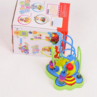jouets de labyrinthe de perles achat en gros de-Jouets bébé en bois perle mini animal autour du jeu de labyrinthe en fil de perle jouets éducatifs coordination main-œil avec des animaux de dessin animé