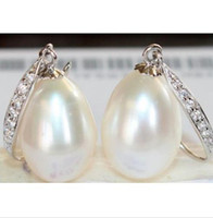 Wholesale South Sea Australian Earrings - 2015 new a pair of natural 11-13MM Australian south seas white pearl earrings