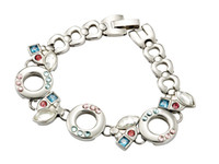 Wholesale Clearance Charms - Free Shipping Stainless Steel Sparkle Bracelets On Clearance Sale Inlay Colorful 3A Grade Czech Zirconia Bracelet For Girls 18CM