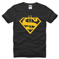 Wholesale Couple T Shirts Superman - 2016 Super Heroes Couple Short Sleeve T Shirt Men Fashion Cotton O-Neck Superman Gold Dollar Printed Male T Shirt Sport Fitness Clothing Hot