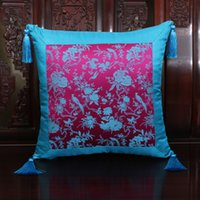 Wholesale Damask Cushion Covers - Smooth Flower Patchwork Cushion Covers for Seat Chairs Sofa Office Home Decor Tassel 17inch 20inch 24inch Silk Damask Waist Pillow Cases