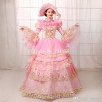 Wholesale New Southern Belle Costumes - Brand New Pink Floral Lace Muliti-Layer Party Dress Southern Belle Ball Gown Marie Antoinette Dress Reenactment Theatre Clothing