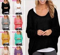 Nuovi arrivi Ladies Womens Tops Bluse T-shirts Knit Sweater Cotone Miscela Baggy Jumper Batwing Pullover Sciolto DX260
