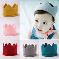 bebek örme taç toptan satış-Sonbahar Kış Bebek Bebek Örme Taç Tiara Şapka Çocuklar Tığ Kafa Bandı Kap Çocuk Doğum Günü Partisi Beanies Erkek Kız Örgü Şapka 12524