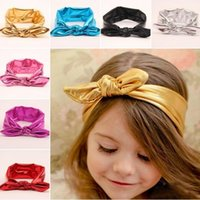 Wholesale Lace Rabbit Ears Headband - 7 colors Baby Gilding rabbit ear Bowknot Headbands Kids Girls Luxury hair bows Headwrap Newbow Infant Hairbands Headwear Hair Accessories