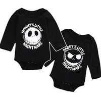 Wholesale Baby Boys Clothes Skulls - halloween skull baby romepr newborn clothes letter mommy's daddy's little nightmare boy girl jumpsuit romper high quality infant romper