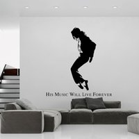 Wholesale Dance Words Wall Decals - Michael Jackson Black Portrait Wall Stickers MJ Silhouette Wall Decals Creative Dance Wallpaper Poster English Words Wall Applique Quote Art