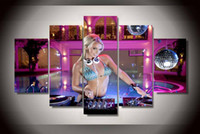 Wholesale Dj Panel - 5 Panel Framed Printed Music DJ Girl Group Painting children's room decor print poster picture canvas