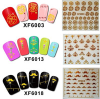 Wholesale 3d Nail Decals Wholesale - Naill Art 3D Stickers Water Proof Gold Plated Nail Tips Nail Decals Nail Foil Stickers