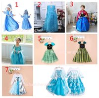 Wholesale Christmas Tutus - Girls Frozen snowflake paillette Lace Dress dresses 7 Design Free DHL children Princess party Elsa & Anna TuTu dress Sweetgirl B001
