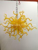 avizeler için avize aydınlatma toptan satış-C87-Bedroom Dekoratif Uzun Zincir Asılı LED Avize Işık Avrupa Kristal Sanat Dekor El Üflemeli Cam Kolye Lambaları