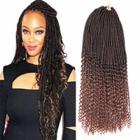 Wholesale high temperature fiber extension - Mtmei Goddess Faux Locs Curly Ends Crochet Braid Hair 20'' 24roots Ombre Braiding Hair Extensions High Temperature Fiber