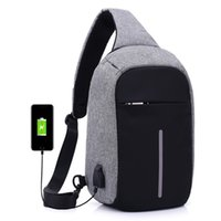 New Anti Theft Small Chest Pack USB Charge Canvas Viagem Sport Sling Bag Men / Women Shoulder Messenger Bags