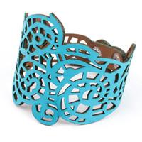 Wholesale vintage enamel bangle bracelets - Charms Bracelets 2016 Vintage Black Beige Enamel Hollow Out Cuff Bracelet Bangles Designer Bijoux For Women Adjustable Leather Bracelets