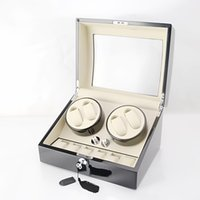 Wholesale Painting Wooden Boxes - Wholesale 1 PCS Wooden Luxury Piano Paint Auto Watch Winder 4 Watches & Storage 6 Watch Box Support the battery power NO.1