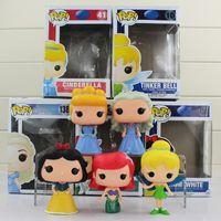 Wholesale Princess Snow White - FUNKO POP Princess Snow White Ariel Cinderella Tinker Bell Cinderella PVC Action Figures Dolls Kids Toys 10cm