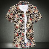 Wholesale Shirts Cotton Short Men - Wholesale-Men's short-sleeved shirt M-7XL Floral luxury noble high quality casual shirts Cotton fashion large size clothing summer man