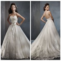 Wholesale Selling Gowns Online - 2016 Best Selling! Sexy Spaghetti Lace Appliques A-Line Wedding Dresses Custom Online Beading Sequined Bridal Gowns Backless Chapel Train
