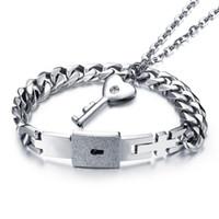 Wholesale Couples Lock Key Bracelet - Pure Titanium Lover's Jewelry Open Heart Lock Bracelet Key Pendants Necklace & Bracelets Couples Jewelry Sets Valentine's Day Wedding Gifts