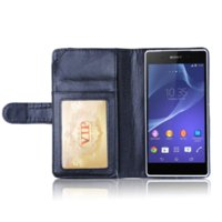 Z2 Wallet cuir de téléphone pour Z2 Case Sony Xperia Design de Stands Avec 6 Porte-cartes Design de Stands flip Case Cover Man affaires