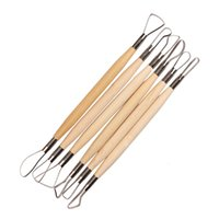 Wholesale Wax Sculpture Tools - High Quality 6PCS Wood Handle Wax Pottery Clay Sculpture Carving Tool DIY Craft Set Wood Knife