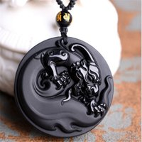 Wholesale China Green Jade Dragon - 100% Natural matte Obsidian Dragons domineering Pendant Necklace