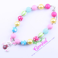 Wholesale Chunky Chain Bead Necklace - Cheap Free Shipping Fashion Beaded Kids Jewelry Chunky Bubblegum Beads Easter Rabbit Necklaces Design For Gift CDNL-410090